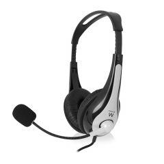 Слушалки Ewent EW3565, Микрофон, USB, 2.1м кабел, Сив/Черен