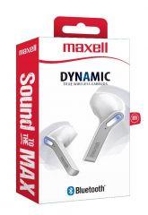 Блутут слушалки-тапи с докинг кутийка MAXELL Dynamic, True Wireless, бял