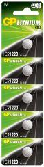 Литиева бутонна батерия GP  CR-1220 3V  5 бр. в блистер /цена за 1 бр./