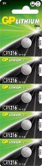 Литиева бутонна батерия GP CR-1216, 3V, 5 бр. в блистер, цена за 1 бр.