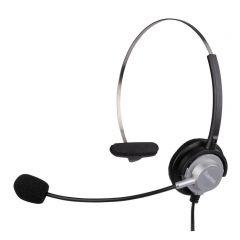 Слушалки HAMA 40625, с микрофон за жичен телефон, Черен/Сив
