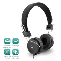 Слушалки Ewent EW3573, 1x 3.5mm жак, 1.5 м кабел, Черни