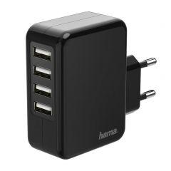 Зарядно 220V HAMA, с 4 USB порта, 4.8 A, Черно
