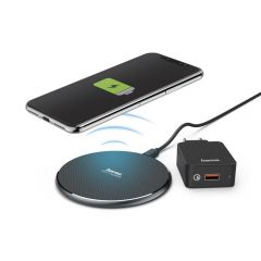 Безжично зарядно-комплект HAMA QI-FC10, 10W, Черно