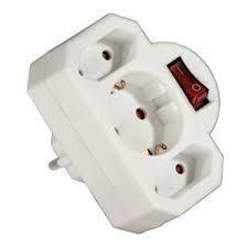 Разклонител HAMA-108846 с 3 гнезда -бял с ключ- адаптер