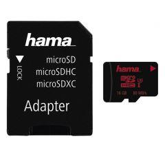 Карта памет HAMA 123980, microSDHC UHS-I, 16GB, 80 MB/s, Class U3, SD адаптер