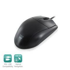 Оптична мишка Ewent EW3154, Жична, 1000 dpi, преходник USB-PS/2, Черна
