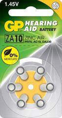 Батерия цинково въздушна GP ZA10 6 бр. бутонни за слухов апарат в блистер