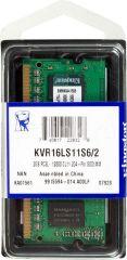 Памет Kingston 2GB SODIMM DDR3L PC3-12800 1600MHz CL11 KVR16LS11S6/2